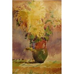 UNIDENTIFIED ARTIST  A Vase of Flowers, 1976 Watercolor Signed an