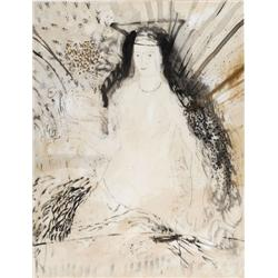 MICHAEL EIZEMANN - B. 1934 Woman and a Dove Ink Signed. 82X63 cm