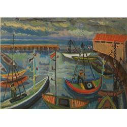 ZIPPORA BRENNER - B. 1916 Jaffa Port, 1998 Gouache Signed and dat