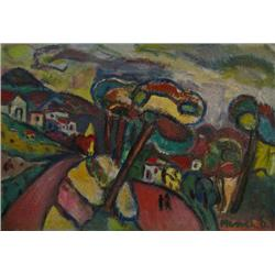 DAVID MESSER 1912 - 1999 Landscape Oil on canvas Signed. 38X55 cm
