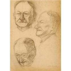 LEONID PASTERNAK 1862 - 1945 Three Heads Charcoal Signed. 58X42 c