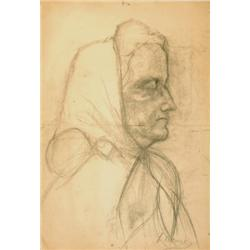 LEONID PASTERNAK 1862 - 1945 Head of an Old Lady  Charcoal Signed