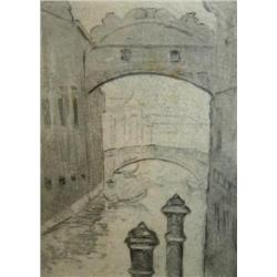 HERMANN STRUCK 1876 - 1944 Venice Etching Signed and numbered 24/