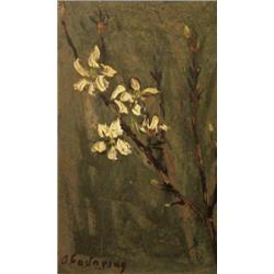 SHMUEL OVADYAHU 1892 - 1963 Flowers Oil on cardboard Signed. 25X1