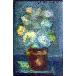 AVRAHAM GOLDBERG 1906 - 1980 Flowers Oil on wood Signed. 10X7 cm