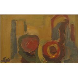 SHMUEL TEPLER 1918 - 1998 Composition Oil on wood Signed. 9.5X15
