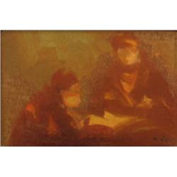 AVRAHAM GOLDBERG 1906 - 1980 Women Oil on wood Signed. 7X11 cm