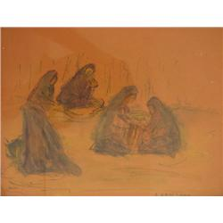 SIMON KARCZMAR - B. 1903 Women in the Field Watercolor Signed. 20