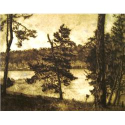 HERMANN STRUCK 1876 - 1944 Lake in Berlin Etching Signed. 37X47.5
