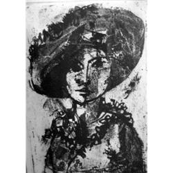 RUTH SCHLOSS - B. 1922 Woman with a Hat Etching Signed and number