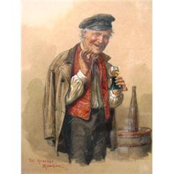 PETER KRAEMER - B. 1937 A Man Drinking Wine Watercolor Signed and