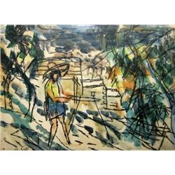 EPHRAIM LIFSHITZ 1909 - 2004 Young Woman in the Field, 1953 Water