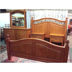 Broyhill Pine Bedroom Furniture : BROYHILL Continental Tapestry Pine Bedroom Set: