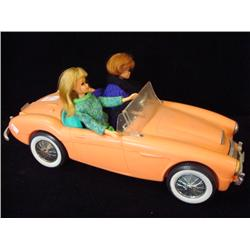 2 Barbie And Midge Dolls With 1962 Austin Healey