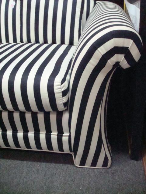 ... Image 2 : Black And White Striped, Upholstered Sofa: ...
