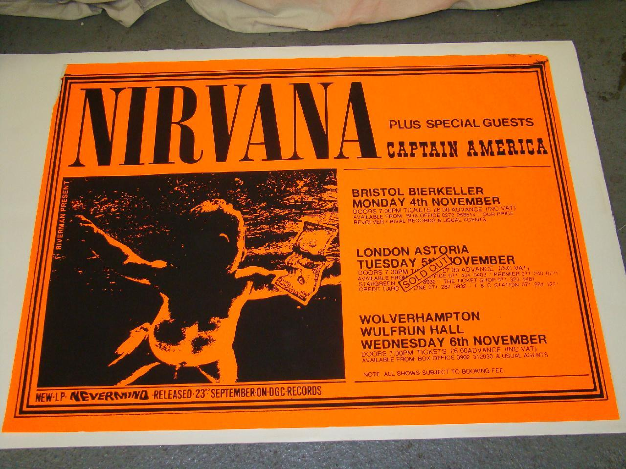 Nirvana 1991 Concert Poster UK Tour