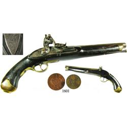 British East India Co. (VOC) flintlock pistol dated 1797, with copper coins of the period.