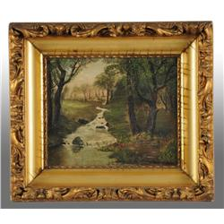 Country River Scene Painting by Schrader.