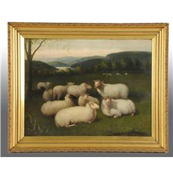 Sheep in Pasture Oil Painting by Jones.