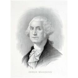 Paper Lithographs of George & Martha Washington.