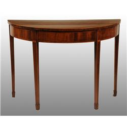 Virginia Hepplewhite Inlaid Demilune Table.