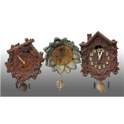 Lot of 3: Miniature Figural Novelty Clocks.