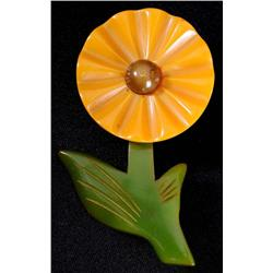 Bakelite 3-Color Flower Pin.