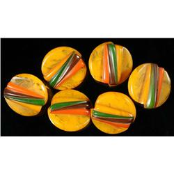 Lot of 6: Bakelite Geometric Buttons.