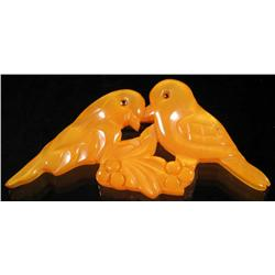 Bakelite Yellow Love Birds Pin.