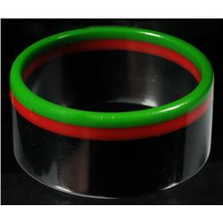 Bakelite Red, Green, & Black Bracelet.