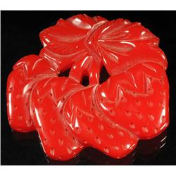 Bakelite Red Strawberries Pin.