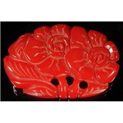 Bakelite Red Flower Pin.