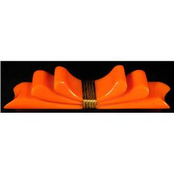 Bakelite Orange Bow Pin.