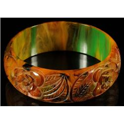 Bakelite Carved End of Day Bracelet.