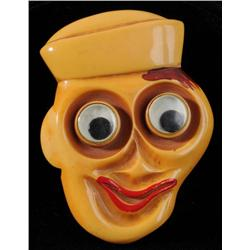 Bakelite Googly Eyed Sailor Pin.