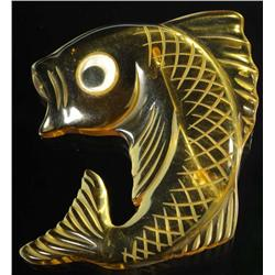 Bakelite Apple Juice Googly Eyed Fish Pin.