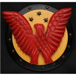 Bakelite 3-Color Eagle on Shield Pin.