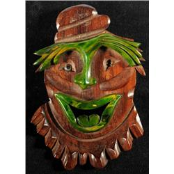 Bakelite & Wood Clown Pin.