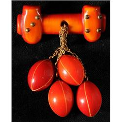 Bakelite Over Dyed Goalpost with Footballs Pin.
