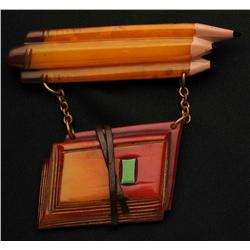 Bakelite Pencils with Hanging Books Pin.