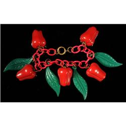 Bakelite Red Pepper Bracelet.