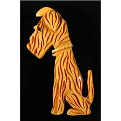 Bakelite Sitting Dog Pin.