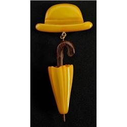 Bakelite Green Man's Hat with Hanging Umbrella Pin