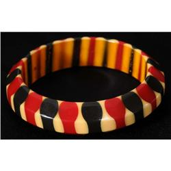 Bakelite Cream, Red & Blue Bracelet.