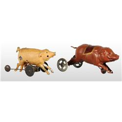 Lot of 2: Tin Hand-Painted Pig Wind-Up Toys.
