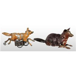 Lot of 2: Tin Hand-Painted Fox Wind-Up Toys.