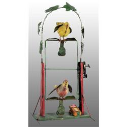 Tin Hand-Painted Double Bird Swing Wind-Up Toy.