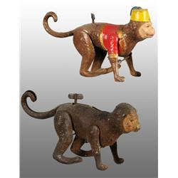 Lot of 2: Tin Hand-Painted Monkey Wind-Up Toys.
