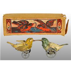 Tin Hand-Painted Birds Fighting Wind-Up Toy.