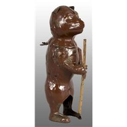 Tin Hand-Painted Bear with Pole Wind-Up Toy.